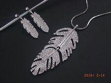 Schmuck Set Kette mit Anhänger und Ohrringe Blatt Zirkonia Crystal