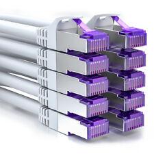 deleyCON 10x 0,25m RJ45 Patchkabel SFTP Netzwerkkabel mit CAT7 Rohkabel Weiß