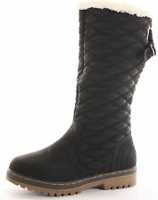 WOMENS GIRLS BLACK KNEE HIGH CALF QUILTED FUR LINED WINTER SNOW BOOTS SIZE 3 UK
