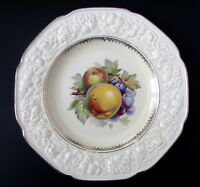 "Crown Ducal Florentine Serving Plate, Embossed Rim Apple and Grape 10 1/2"" Plate"