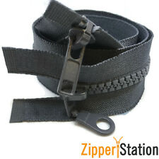 5 x Grey Plastic Chunky Teeth 2 way zip zipper, 60 cms long