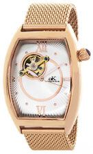 Adee Kaye Mens Silver Dial Rose Gold Tone Steel Bracelet Watch AK6473-MRG