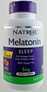 Natrol Melatonin 5 mg Fast Dissolve Strawberry Flavor Value Size ~ Exp: 10/2021