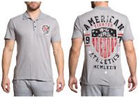 AMERICAN FIGHTER Mens POLO T-Shirt HERITAGE ARTISAN Biker GREY Gym MMA $45