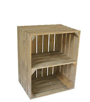 Large Wooden Crate Apple Box Storage Display Unit  With Shelf Vintage Style