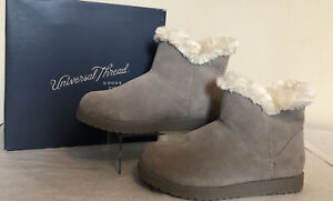 Universal Thread Claudia Short Shearling Suede Boot Size 7 Gray Bootie Fur Line