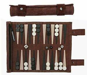Sondergut Roll-Up Suede Backgammon Travel Game, Color- Mocha