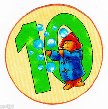 "3.5"" PADDINGTON BEAR NUMBER #10  CIRCLE 10TH  BIRTHDAY FABRIC APPLIQUE IRON ON"