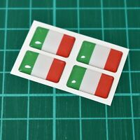 4x Italy Flag Domed Stickers - High Gloss Raised Gel Finish