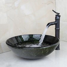 Round Bathroom Sink Tempered Glass Vessel Sink With Black Faucet Combo Set