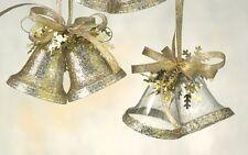 Gold Glitter Festive Bells Hanging Christmas Tree Ornaments x4