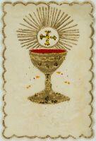 Votivkarte, Votivbild m. Weinkrug u. Tauben, 19. Jhd.