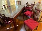 Antique Oriental Dining Table with 8 Chairs from Hong Kong