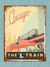 Stile Retrò Vintage Chicago L treno poster immagine Metallo Segno Muro Porta Placca