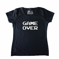 GAME OVER Womens Ladies T Shirt Gamer Gaming PC xbox ps4 Shooter Arcade Retro