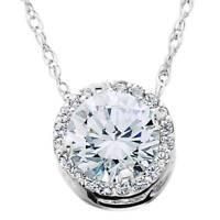 1/2 Ct Round Diamond Pave Halo Fancy Solitaire Pendant 14k White Gold