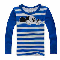 Toddler Kid Boys Girls Long Sleeve T-Shirt Tops Warm Mickey Mouse Print Pullover