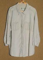 Women's 1X The Territory Ahead 100% Linen 3/4 Sleeve Button Down Shirt Plus Size