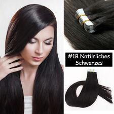 100% Echthaar Extensions Tape in Hair Haarverlängerung Natürliches Schwarzs 55CM