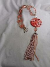 STUNNING FACETED PINK CRYSTAL BEAD NECKLACE W/ CARVED PHOENIX AGATE PENDANT