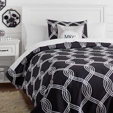 Pottery Barn Teen Black Infinity Stripe Duvet Cover - Size - Full/Queen