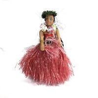 Vintage Aloha Hawaiian Hula Bobble Hip Girl Doll Pink Grass Skirt Dashboard