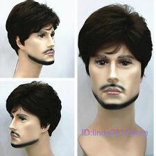 New Dark Brown Short Menfolk Man Men Male Daily Wear Hair Wigs+wig cap NO:A184