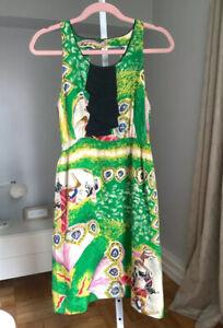 Anthropologie Moulinette Soeurs Panoply Carousel Horse Silk Dress Sz 2 Green