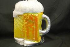 "Beer Mug Hat Foaming White Yellow Oktoberfest Plush One Size Fits All 11"" Tall"