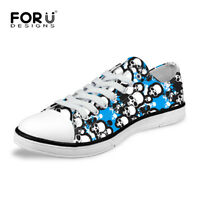 Skull Women's Low Top Canvas Shoes Fashion Lace Up Sneakers Casual Sports Shoes
