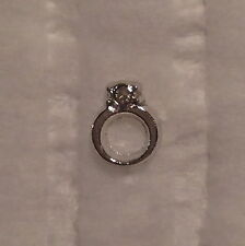 Silver ENGAGEMENT RING with Crystal Floating Charm - for glass floating lockets