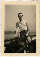 PHOTO ANCIENNE - HOMME GAY BATEAU MODE MONTRE - MAN FASHION - Vintage Snapshot