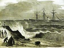 WRECK of BOHEMIAN at SEA 1864 Antique Art Print Matted