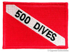 500 Dives - Embroidered Scuba Diving Flag Patch Iron-On
