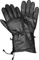 Men's Leather Waterproof Winter Motorcycle Gauntlet Gloves w/ Draw String Wrist