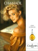 Publicité ancienne Parfum Chamade Guerlain 1989 issue de magazine