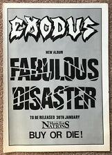 EXODUS - FABULOUS DISASTER 1986  Full page UK magazine ad