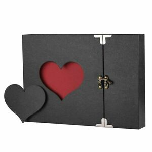 Photo Album A4 DIY Vintage Love Heart Black Pages Anniversary Wedding Scrapbook