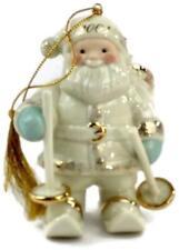 Lenox Fine China Porcelain Santa On Skis 2001 Holiday Ornament Gold Trim - Rare