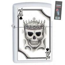 Zippo 2521 Ace of Spades-Skull White Matte Finish Full Size Lighter + FLINT PACK