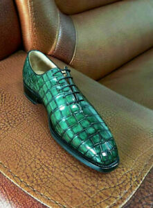 Lace up dress shoes oxford genuine leather green for men made in