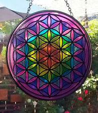 Large Hanging Stained Glass Look FLOWER OF LIFE SUNCATCHER, CHAKRA