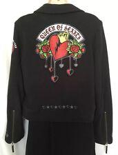 DISNEY World M Jacket Queen Of Hearts Women's Wonderland Black Knit Zipper Moto