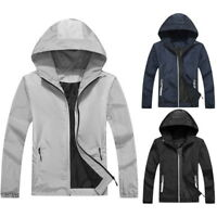 Fashion Mens -Light Jacket Super-Thin Windbreaker Casual Zip Hooded Jackets