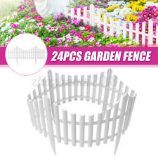 24Pcs Outdoor Landscape Decor White Garden Fence Border Fencing Edging Pannels