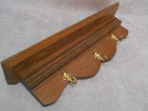 Vintage French Wooden  SHELF  w/ 3 CHERUB Hooks