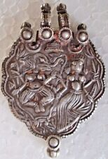 RARE AMULET 100% PURE SILVER Tribal God & Goddess Engraved Jewellery Pendant 019