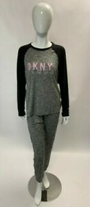 DKNY Ladies Brushed PJ Set Grey Size 10 Brand New With Tags D126