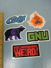 GNU snowboard 2014 5 STICKER SET New Old Stock Flawless Condition Lib Tech