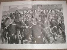 General Redvers Buller Aldershot firemen pulling his carriage 1900 old print